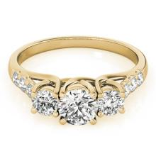 3.25 CTW Certified VS/SI Diamond 3 Stone Bridal Ring 14K Yellow Gold - REF-821H9A - 25939
