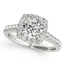 1.7 CTW Certified VS/SI Diamond Solitaire Halo Ring 18K White Gold - REF-398A8X - 26263