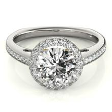 1.05 CTW Certified VS/SI Diamond Solitaire Halo Ring 18K White & Yellow Gold - REF-209T8M - 26961