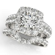 2.51 CTW Certified VS/SI Diamond 2Pc Wedding Set Solitaire Halo 14K White Gold - REF-312X8T - 30888