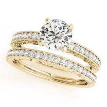 1.38 CTW Certified VS/SI Diamond Solitaire 2Pc Wedding Set Antique 14K Yellow Gold - REF-376K4W - 31438
