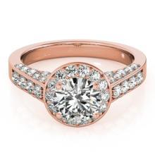 2.56 CTW Certified VS/SI Diamond Solitaire Halo Ring 18K Rose Gold - REF-640K2W - 26788