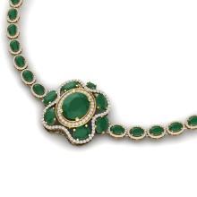 47.43 CTW Royalty Emerald & VS Diamond Necklace 18K Yellow Gold - REF-1072W8F - 39329