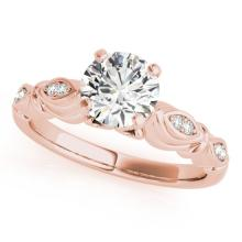 0.6 CTW Certified VS/SI Diamond Solitaire Antique Ring 18K Rose Gold - REF-115A3X - 27346