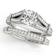 1.16 CTW Certified VS/SI Diamond Solitaire 2Pc Wedding Set Antique 14K White Gold - REF-222T2M - 31463
