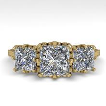 2 CTW Past Present Future Certified VS/SI Princess Diamond Ring 18K Yellow Gold - REF-414N2Y - 35785