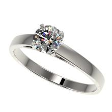 0.78 CTW Certified H-SI/I Quality Diamond Solitaire Engagement Ring 10K White Gold - REF-97H5A - 36482