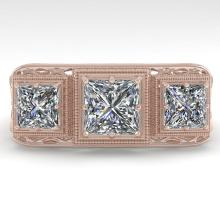 2 CTW Past Present Future VS/SI Princess Diamond Ring 18K Rose Gold - REF-481X6T - 36068