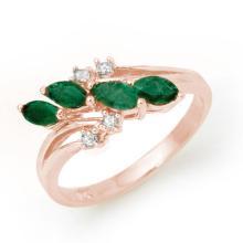 0.40 CTW Emerald & Diamond Ring 18K Rose Gold - REF-38X4T - 13084