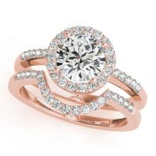 1.18 CTW Certified VS/SI Diamond 2Pc Wedding Set Solitaire Halo 14K Rose Gold - REF-216X2T - 30772
