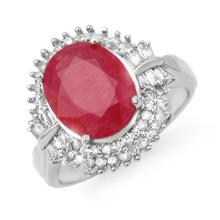 6.07 CTW Ruby & Diamond Ring 18K White Gold - REF-158M2H - 13639