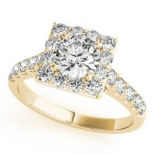 2 CTW Certified VS/SI Diamond Solitaire Halo Ring 18K Yellow Gold - REF-430X2T - 26834