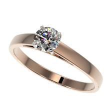 0.55 CTW Certified H-SI/I Quality Diamond Solitaire Engagement Ring 10K Rose Gold - REF-54H2A - 36465