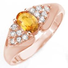 0.90 CTW Yellow Sapphire & Diamond Ring 14K Rose Gold - REF-43X6T - 10024