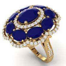 14.4 CTW Royalty Designer Sapphire & VS Diamond Ring 18K Yellow Gold - REF-250F9N - 39191