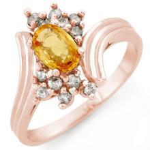 1.0 CTW Yellow Sapphire & Diamond Ring 14K Rose Gold - REF-35N6Y - 10232