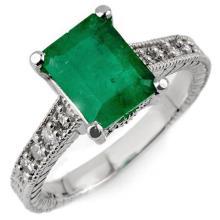 2.75 CTW Emerald & Diamond Antique Ring 14K White Gold - REF-40Y4K - 10627
