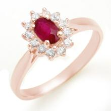 0.51 CTW Ruby & Diamond Ring 18K Rose Gold - REF-27A3X - 12619