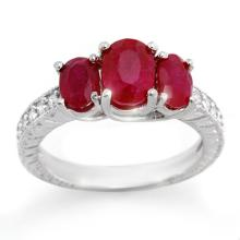 3.75 CTW Ruby & Diamond Ring 14K White Gold - REF-54H5A - 10730