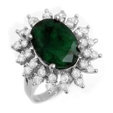 6.45 CTW Emerald & Diamond Ring 18K White Gold - REF-132K9W - 13289
