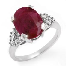 4.74 CTW Ruby & Diamond Ring 14K White Gold - REF-63H6A - 12818