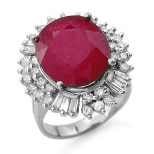 10.65 CTW Ruby & Diamond Ring 18K White Gold - REF-272H8A - 13196