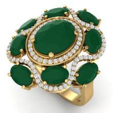 9.86 CTW Royalty Designer Emerald & VS Diamond Ring 18K Yellow Gold - REF-218K2W - 39293