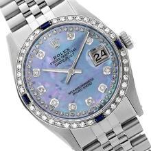 Rolex Ladies Stainless Steel, Diam Dial & Diam/Sapphire Bezel, Sapphire Crystal - REF-434N6A