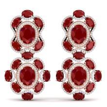 33.5 CTW Royalty Designer Ruby & VS Diamond Earrings 18K Rose Gold - REF-518A2X - 39313