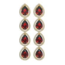 9.25 CTW Garnet & Diamond Halo Earrings 10K Yellow Gold - REF-151H3A - 41329