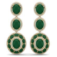 32.84 CTW Royalty Emerald & VS Diamond Earrings 18K Yellow Gold - REF-490N9Y - 39257