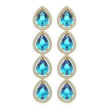 10.8 CTW Swiss Topaz & Diamond Halo Earrings 10K Yellow Gold - REF-155T6M - 41317
