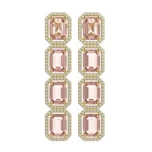 19.81 CTW Morganite & Diamond Halo Earrings 10K Yellow Gold - REF-424X8T - 41584