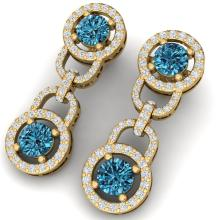 4 CTW SI/I Intense Blue And White Diamond Earrings 18K Yellow Gold - REF-298X5T - 40108