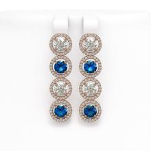 6.25 CTW Blue & White Diamond Designer Earrings 18K Rose Gold - REF-782N4Y - 42684