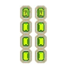 17.81 CTW Peridot & Diamond Halo Earrings 10K Yellow Gold - REF-220A8X - 41599