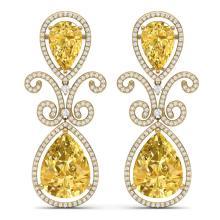27.31 CTW Royalty Canary Citrine & VS Diamond Earrings 18K Yellow Gold - REF-301X8T - 39554