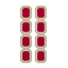 20.59 CTW Ruby & Diamond Halo Earrings 10K Yellow Gold - REF-230T9M - 41575