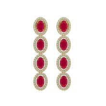 6.47 CTW Ruby & Diamond Halo Earrings 10K Yellow Gold - REF-114H2A - 40507