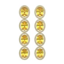 12.62 CTW Fancy Citrine & Diamond Halo Earrings 10K Yellow Gold - REF-141N8Y - 40789