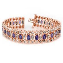 17.50 ctw Tanzanite & Diamond Bracelet 18K Rose Gold - 14566-REF#-466P3X