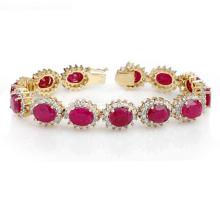 42.12 ctw Ruby & Diamond Bracelet 14K Yellow Gold - 14055-REF#-441K2T