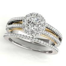 0.92 CTW Certified VS/SI Diamond 2pc Set Solitaire Halo 14K Two Tone Gold - REF#-121R8H