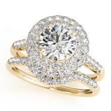 1.52 CTW Certified VS/SI Diamond 2pc Wedding Set Solitaire Halo 14K Gold - REF#-167F6V