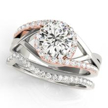 1.75 CTW Certified VS/SI Diamond Bypass Wedding  14K Two Tone Gold - REF#-521X3T