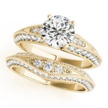 2.01 CTW Certified VS/SI Diamond Solitaire 2pc Wedding Set Antique Gold - REF#-412X2T