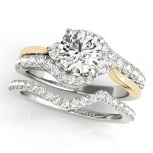 1.81 CTW Certified VS/SI Diamond Bypass Solitaire 2pc Set Two Tone Gold - REF#-398F5V