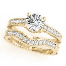 0.45 CTW Certified VS/SI Diamond Solitaire 2pc Wedding Set Antique Gold - REF#-94H2M