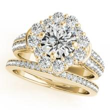 2.38 CTW Certified VS/SI Diamond 2pc Wedding Set Solitaire Halo 14K Gold - REF#-448W4G