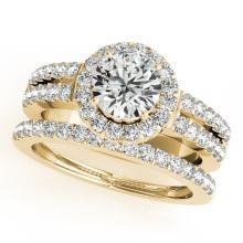1.58 CTW Certified VS/SI Diamond 2pc Wedding Set Solitaire Halo 14K Gold - REF#-244M4F